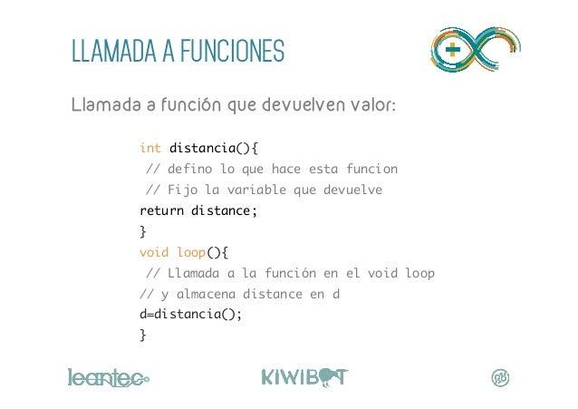 LLAMADA A FUNCIONES Llamada a función que devuelven valor:  int distancia(){ // defino lo que hace esta funcion // Fi...