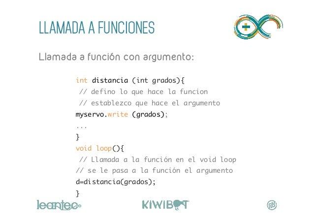 LLAMADA A FUNCIONES Llamada a función con argumento:  int distancia (int grados){ // defino lo que hace la funcion //...