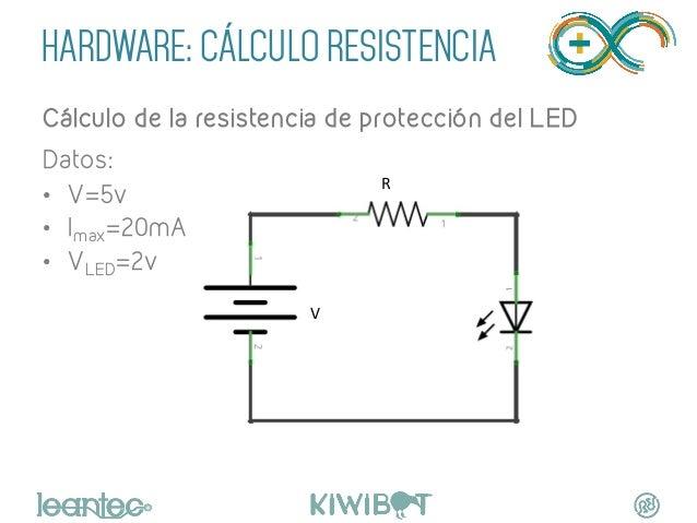 HARDWARE: CÁLCULO RESISTENCIA Cálculo de la resistencia de protección del LED Datos: • V=5v • Imax=20mA • VLED=2v V  ...
