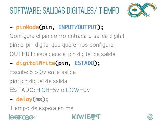 SOFTWARE: SALIDAS DIGITALES/ TIEMPO - pinMode(pin, INPUT/OUTPUT); Configura el pin como entrada o salida digital pin: el ...