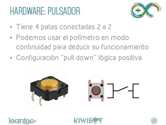 HARDWARE: PULSADOR • Tiene 4 patas conectadas 2 a 2 • Podemos usar el polímetro en modo continuidad para deducir su func...
