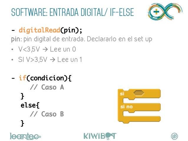 SOFTWARE: ENTRADA DIGITAL/ IF-ELSE - digitalRead(pin); pin: pin digital de entrada. Declararlo en el set up • V<3,5V à ...