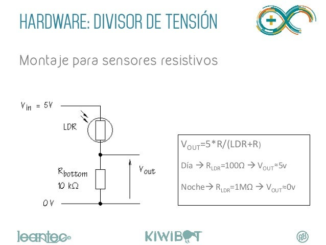 HARDWARE: DIVISOR DE TENSIÓN Montaje para sensores resistivos VOUT=5*R/(LDR+R)      Día  à  RLDR=100Ω  à  VO...
