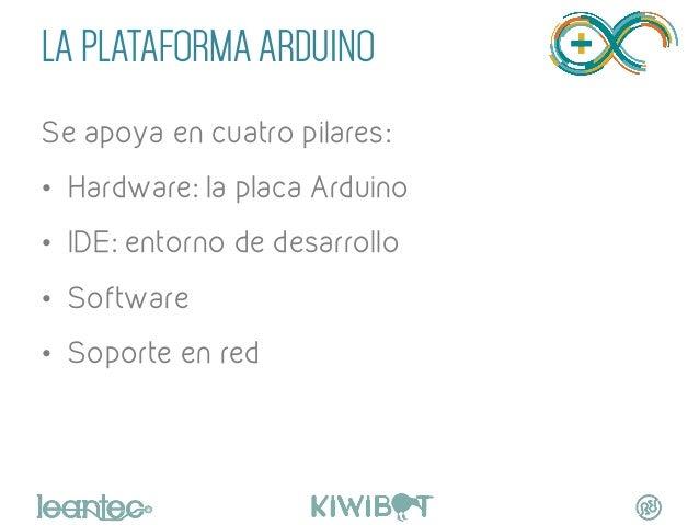 LA PLATAFORMA ARDUINO Se apoya en cuatro pilares: • Hardware: la placa Arduino • IDE: entorno de desarrollo • Software ...