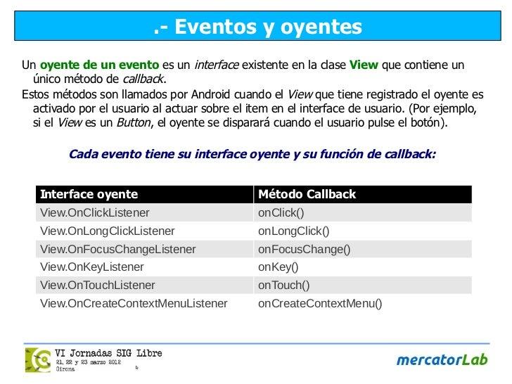 .- Eventos y oyentesUn oyente de un evento es un interface existente en la clase View que contiene un  único método de cal...