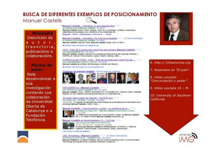 BUSCA DE DIFERENTES EXEMPLOS DE POSICIONAMENTOManuel Castells- Wikipedia. Descrición doa u t o r ,traxectoria,publicación...