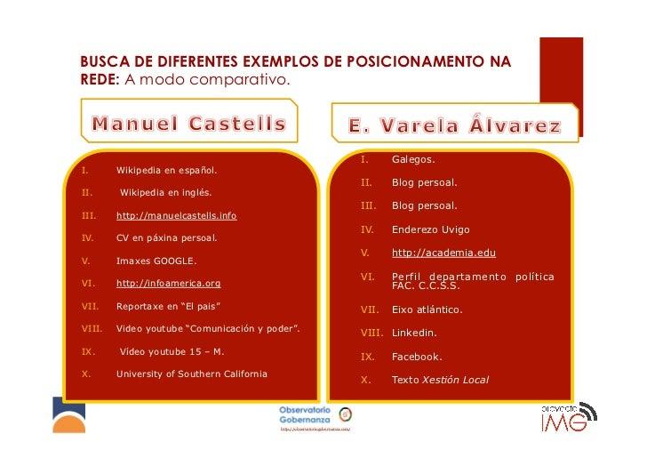 BUSCA DE DIFERENTES EXEMPLOS DE POSICIONAMENTO NAREDE: A modo comparativo.             Manuel Castells                    ...