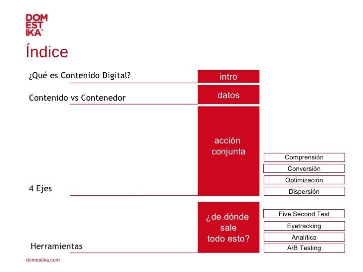 Contenido vs Contenedor Índice  intro datos acción  conjunta ¿de dónde  sale todo esto? ¿Qué es Contenido Digital? Herrami...