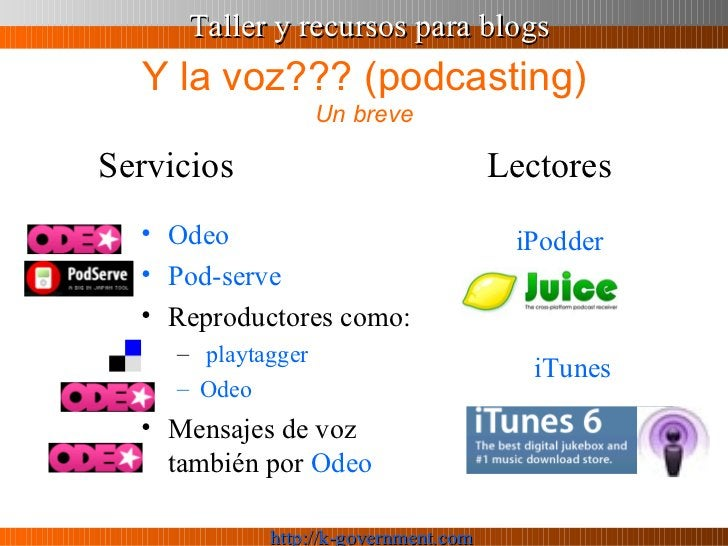 Y la voz??? (podcasting) Un breve <ul><li>Odeo </li></ul><ul><li>Pod - serve </li></ul><ul><li>Reproductores como: </li></...