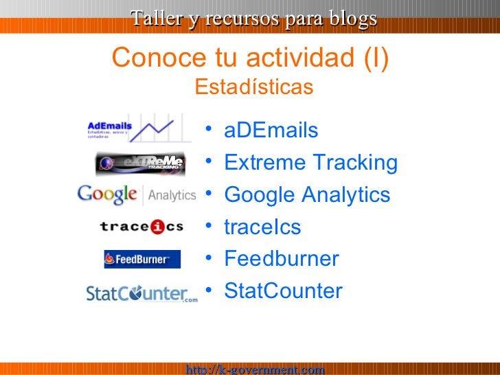 Conoce tu actividad (I)  Estadísticas <ul><li>aDEmails </li></ul><ul><li>Extreme  Tracking </li></ul><ul><li>Google  Analy...