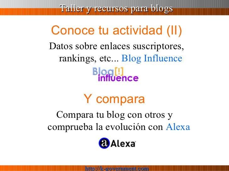 Conoce tu actividad (II) <ul><li>Datos sobre enlaces suscriptores, rankings, etc...  Blog  Influence </li></ul>Y compara C...