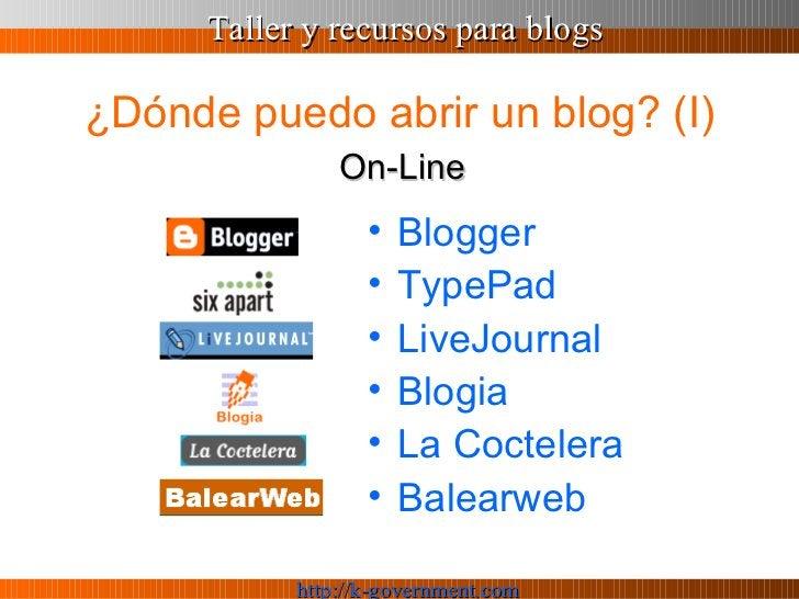 ¿Dónde puedo abrir un blog? (I) <ul><li>Blogger </li></ul><ul><li>TypePad </li></ul><ul><li>LiveJournal </li></ul><ul><li>...
