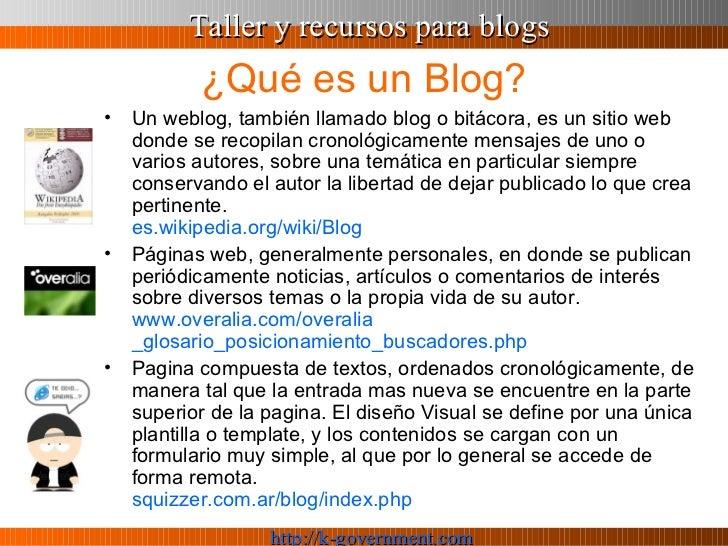 Taller y recursos para Blogs Slide 2