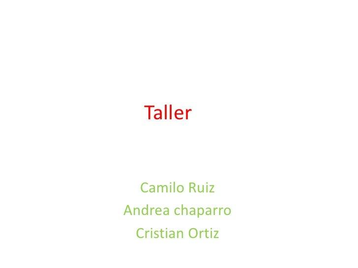 Taller  Camilo RuizAndrea chaparro Cristian Ortiz