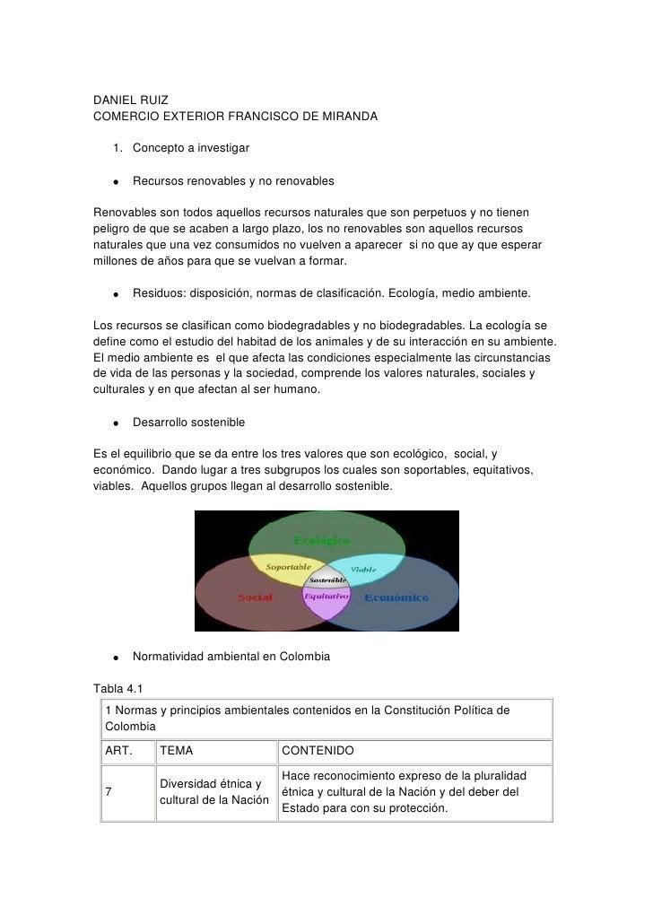 DANIEL RUIZ<br />COMERCIO EXTERIOR FRANCISCO DE MIRANDA<br />Concepto a investigar<br />Recursos renovables y no renovable...