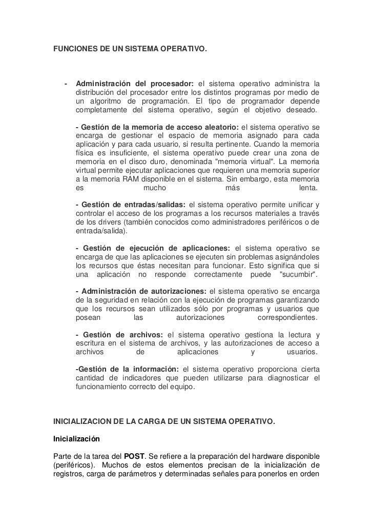 FUNCIONES DE UN SISTEMA OPERATIVO.   -   Administración del procesador: el sistema operativo administra la       distribuc...