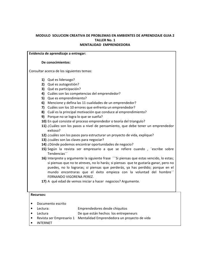 MODULO SOLUCION CREATIVA DE PROBLEMAS EN AMBIENTES DE APRENDIZAJE GUIA 2                                    TALLER No. 1  ...