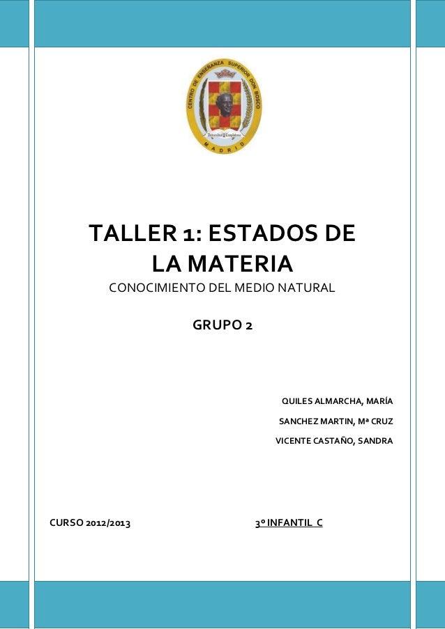 TALLER 1: ESTADOS DE           LA MATERIA           CONOCIMIENTO DEL MEDIO NATURAL                      GRUPO 2           ...
