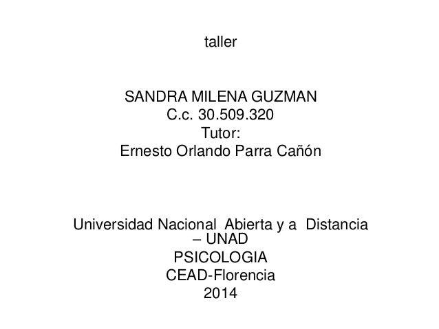 taller SANDRA MILENA GUZMAN C.c. 30.509.320 Tutor: Ernesto Orlando Parra Cañón Universidad Nacional Abierta y a Distancia ...