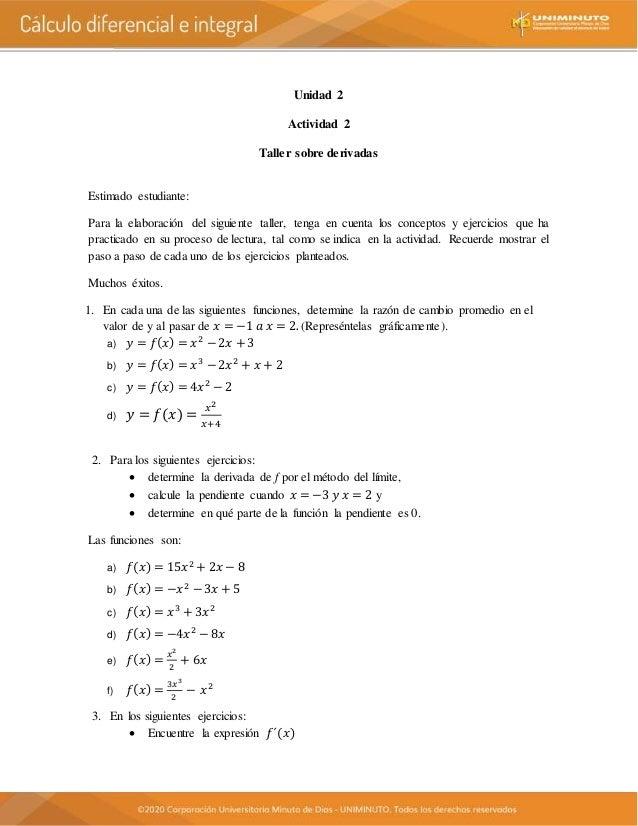 Taller cálculo diferencial