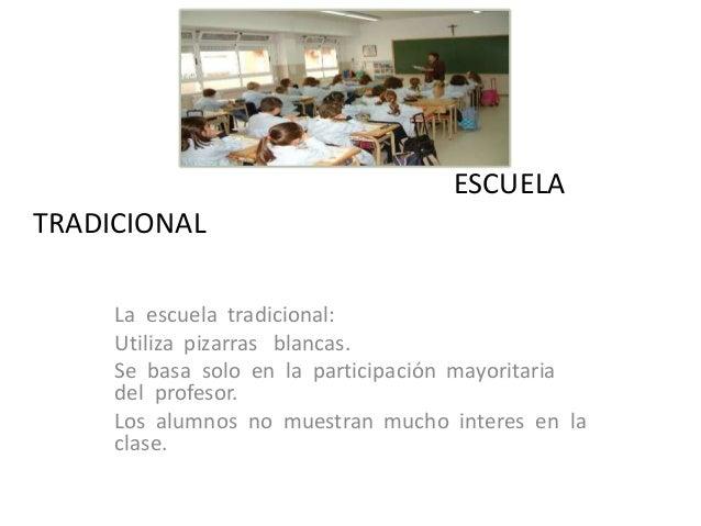 ESCUELATRADICIONAL     La escuela tradicional:     Utiliza pizarras blancas.     Se basa solo en la participación mayorita...