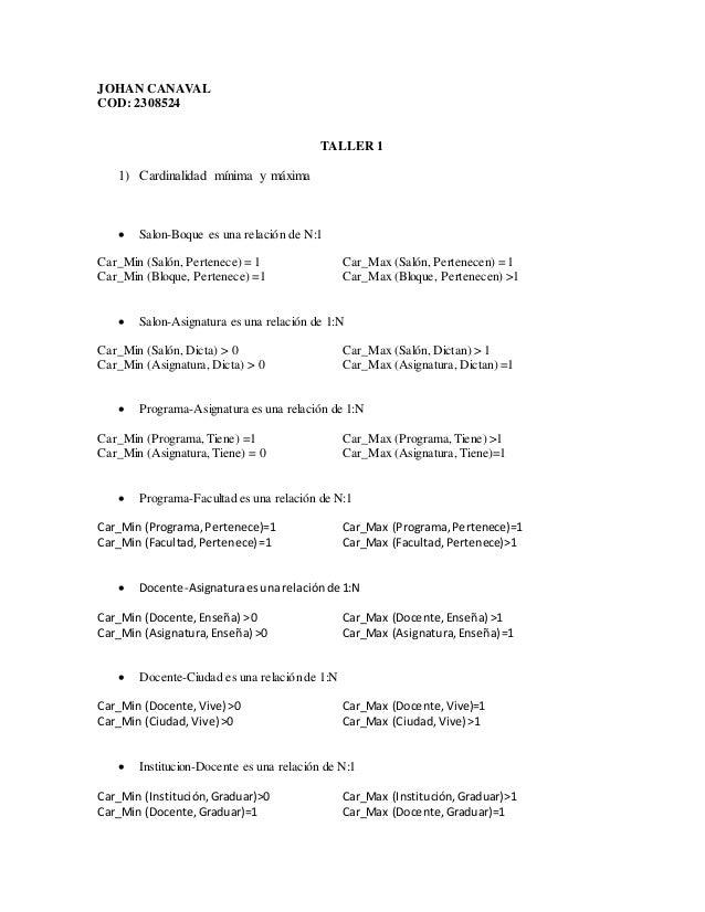 JOHAN CANAVAL COD: 2308524 TALLER 1 1) Cardinalidad mínima y máxima  Salon-Boque es una relación de N:1 Car_Min (Salón, P...