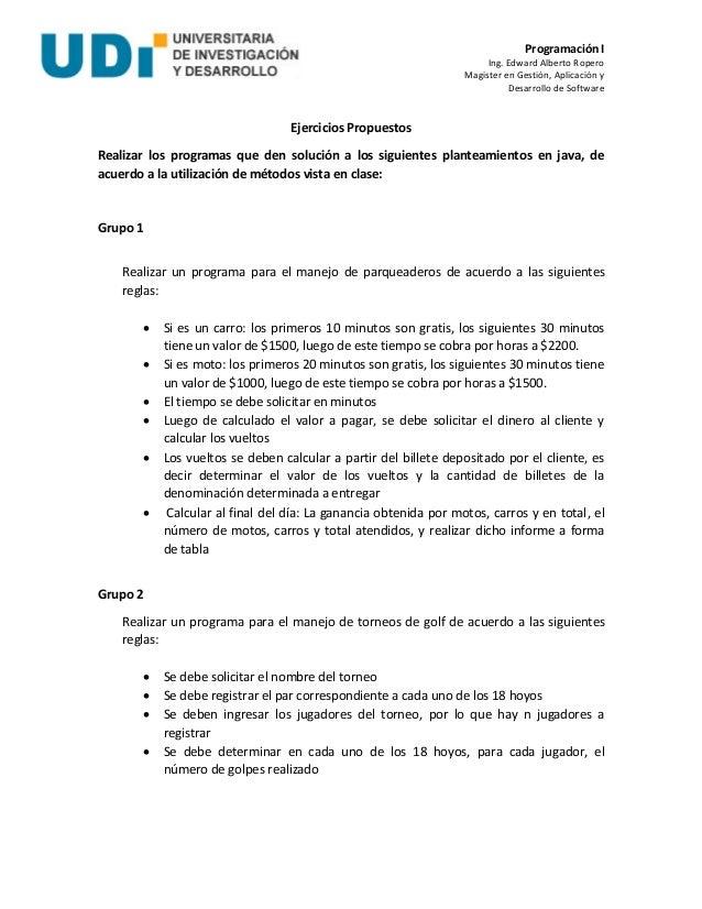 Programación I Ing. Edward Alberto Ropero Magister en Gestión, Aplicación y Desarrollo de Software Ejercicios Propuestos R...