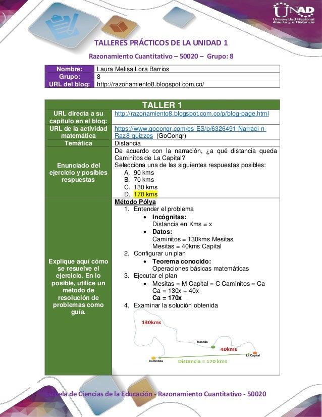 Escuela de Ciencias de la Educación - Razonamiento Cuantitativo - 50020 TALLERES PRÁCTICOS DE LA UNIDAD 1 Razonamiento Cua...
