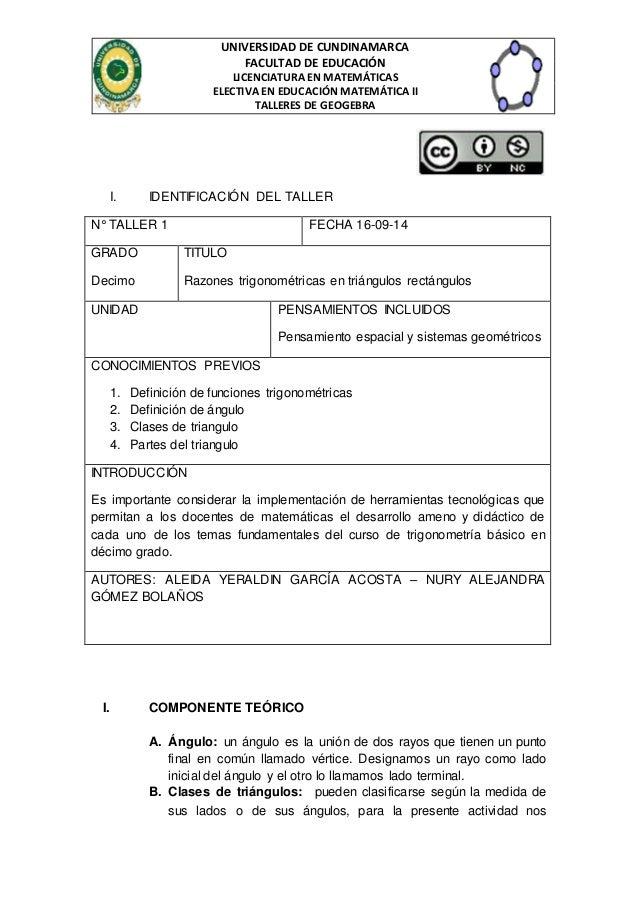 UNIVERSIDAD DE CUNDINAMARCA  FACULTAD DE EDUCACIÓN  LICENCIATURA EN MATEMÁTICAS  ELECTIVA EN EDUCACIÓN MATEMÁTICA II  TALL...