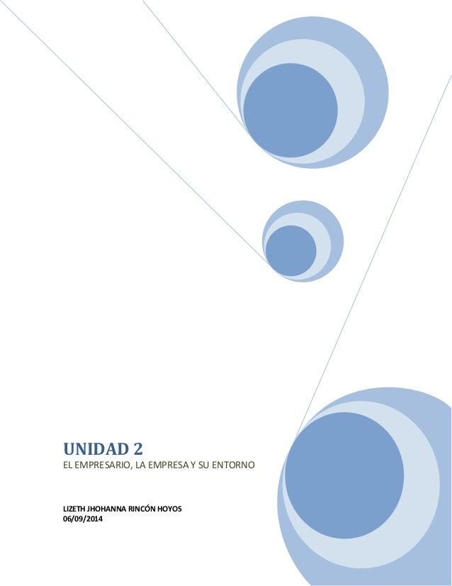 UNIDAD 2  EL EMPRESARIO, LA EMPRESA Y SU ENTORNO  LIZETH JHOHANNA RINCÓN HOYOS  06/09/2014