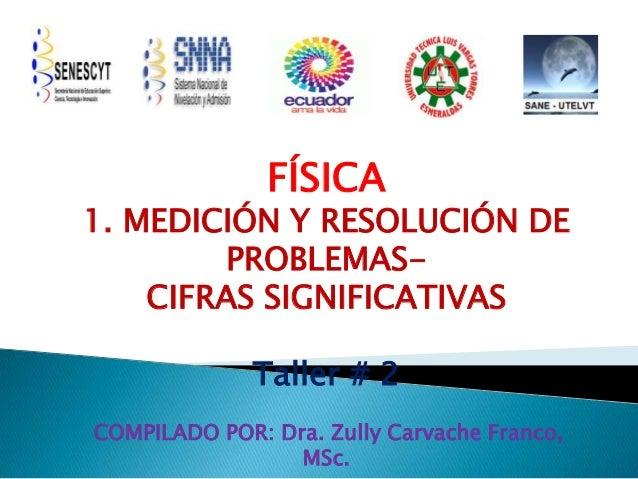 FÍSICA 1. MEDICIÓN Y RESOLUCIÓN DE PROBLEMAS- CIFRAS SIGNIFICATIVAS Taller # 2 COMPILADO POR: Dra. Zully Carvache Franco, ...