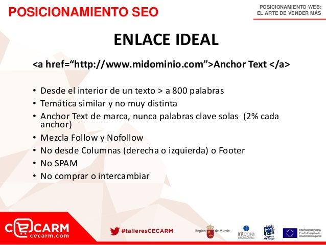 """POSICIONAMIENTO WEB: EL ARTE DE VENDER MÁSPOSICIONAMIENTO SEO ENLACE IDEAL <a href=""""http://www.midominio.com"""">Anchor Text ..."""