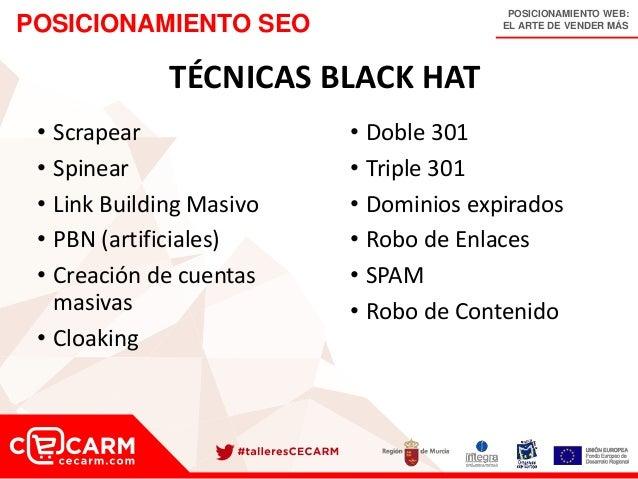 POSICIONAMIENTO WEB: EL ARTE DE VENDER MÁSPOSICIONAMIENTO SEO TÉCNICAS BLACK HAT • Scrapear • Spinear • Link Building Masi...