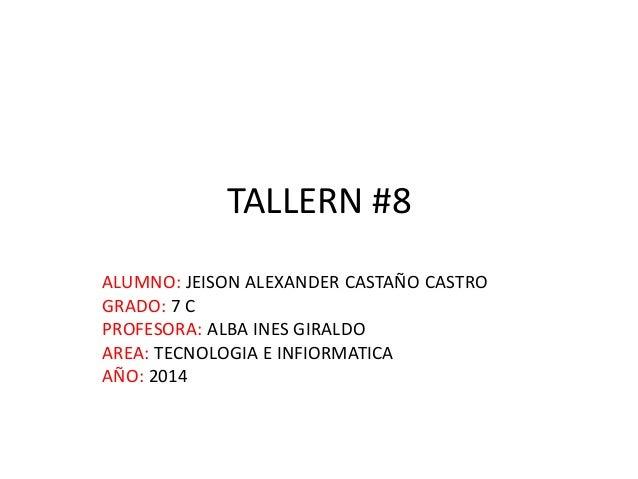 TALLERN #8 ALUMNO: JEISON ALEXANDER CASTAÑO CASTRO GRADO: 7 C PROFESORA: ALBA INES GIRALDO AREA: TECNOLOGIA E INFIORMATICA...