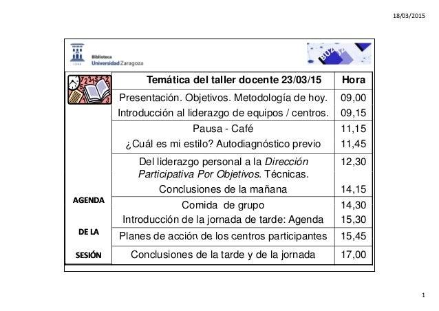 18/03/2015 1 Tem�tica del taller docente 23/03/15 Hora Presentaci�n. Objetivos. Metodolog�a de hoy. 09,00 Introducci�n al ...