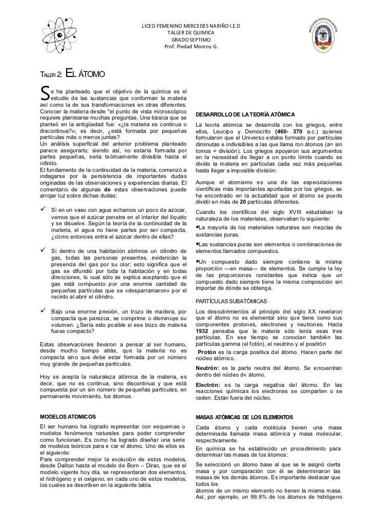 LICEO FEMENINO MERCEDES NARIÑO I.E.D                                                 TALLER DE QUIMICA                    ...