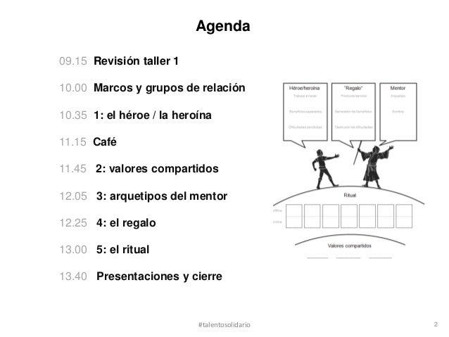 Agenda09.15 Revisión taller 110.00 Marcos y grupos de relación10.35 1: el héroe / la heroína11.15 Café11.45 2: valores com...
