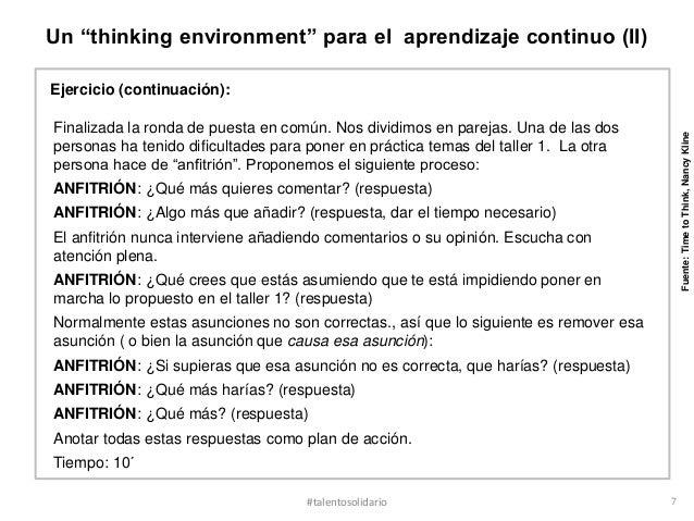 """Un """"thinking environment"""" para el aprendizaje continuo (II)Ejercicio (continuación):Finalizada la ronda de puesta en común..."""