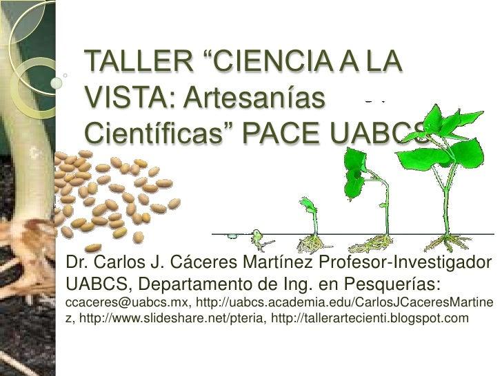 """TALLER """"CIENCIA A LA VISTA: Artesanías Científicas"""" PACE UABCS<br />Dr. Carlos J. Cáceres Martínez Profesor-Investigador U..."""