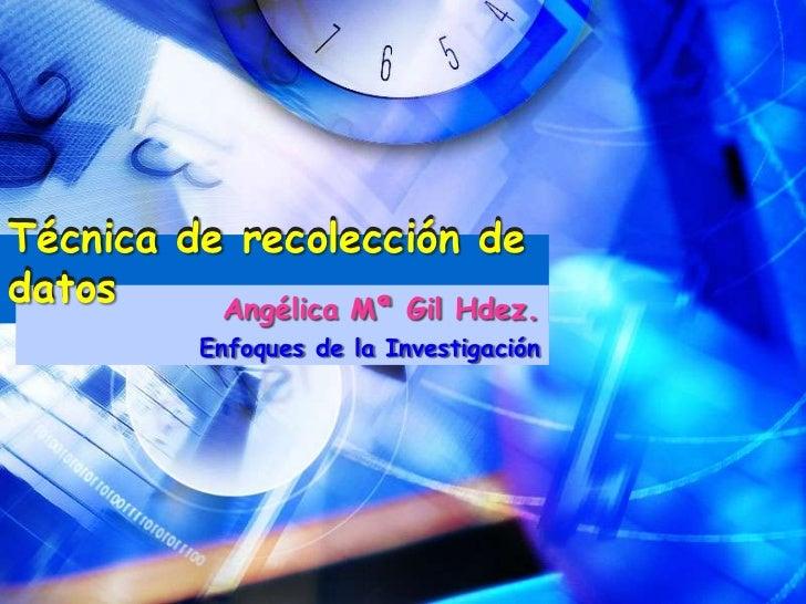 Técnica de recolección de datos Técnica de recolección de datos                  Angélica Mª Gil Hdez.               Enfoq...