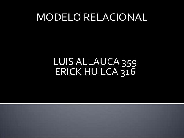 MODELO RELACIONAL  LUIS ALLAUCA 359  ERICK HUILCA 316
