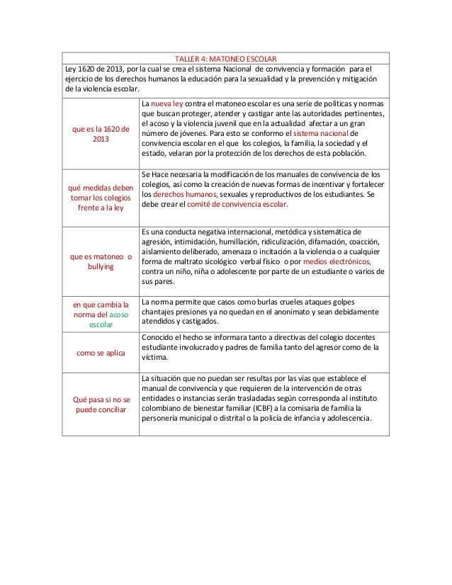 TALLER 4: MATONEO ESCOLAR Ley 1620 de 2013, por la cual se crea el sistema Nacional de convivencia y formación para el eje...