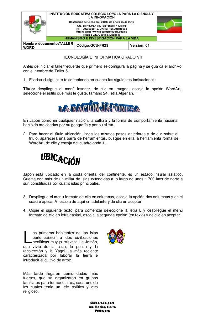 INSTITUCI�N EDUCATIVA COLEGIO LOYOLA PARA LA CIENCIA Y LA INNOVACI�N Resoluci�n de Creaci�n: 00003 de Enero 05 de 2010 Cra...
