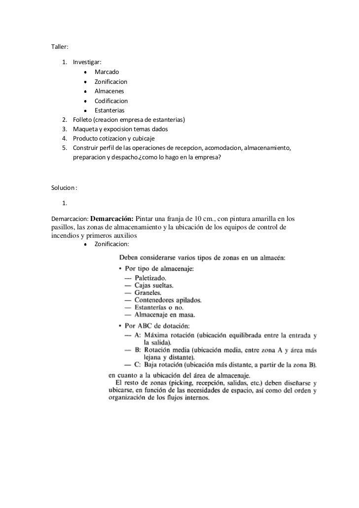 Taller:<br />Investigar:<br />Marcado<br />Zonificacion<br />Almacenes<br />Codificacion<br />Estanterias<br />Folleto (cr...