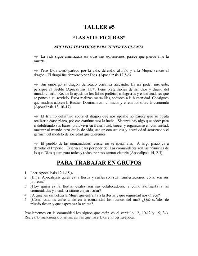 """TALLER #5 """"LAS SITE FIGURAS"""" NÚCLEOS TEMÁTICOS PARA TENER EN CUENTA → La vida sigue amenazada en todas sus expresiones, pa..."""