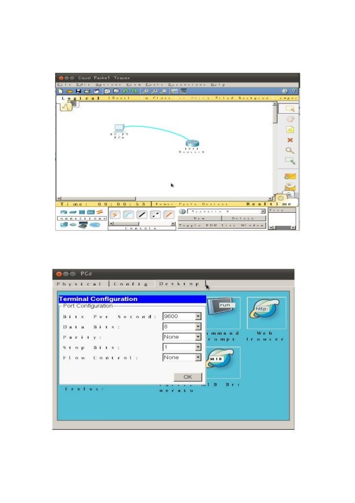 Pasos:   1. Mediante la herramienta Packet Tracer realice la conexión de un       router 1841 con un PC, a través de un ca...