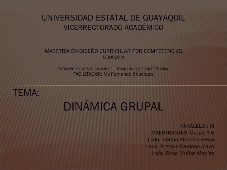 UNIVERSIDAD ESTATAL DE GUAYAQUIL VICERRECTORADO ACADÉMICO MAESTRÍA EN DISEÑO CURRICULAR POR COMPETENCIAS MÓDULO IX ESTRATE...