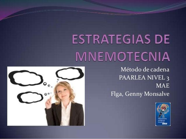 Método de cadenaPAARLEA NIVEL 3MAEFlga, Genny Monsalve