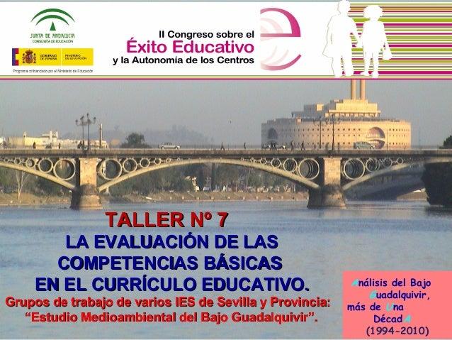 Análisis del Bajo Guadalquivir, más de Una DécadA (1994-2010) TALLER Nº 7TALLER Nº 7 LA EVALUACIÓN DE LASLA EVALUACIÓN DE ...