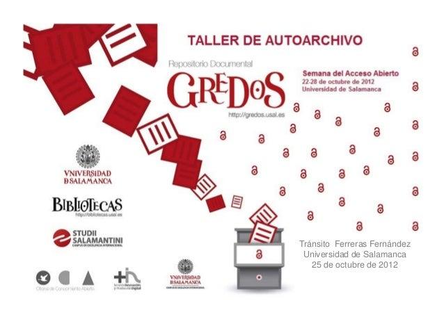 Tránsito Ferreras Fernández Universidad de Salamanca   25 de octubre de 2012